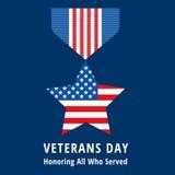 Vlakke de medaillespictogrammen van de veteranendag Stock Foto's