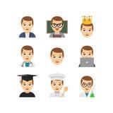 Vlakke de mensenpictogrammen van de emoticonstijl vector illustratie