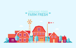 Vlakke de natuurvoeding verse vector van het landbouwbedrijflandschap Royalty-vrije Stock Fotografie