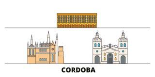 Vlakke de oriëntatiepunten vectorillustratie van Argentinië, Cordoba De lijnstad van Argentinië, Cordoba met beroemde reisgezicht vector illustratie