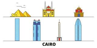 Vlakke de oriëntatiepunten vectorillustratie van Egypte, Kaïro De lijnstad van Egypte, Kaïro met beroemde reisgezichten, horizon, vector illustratie
