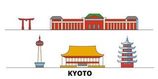 Vlakke de oriëntatiepunten vectorillustratie van Japan, Kyoto De lijnstad van Japan, Kyoto met beroemde reisgezichten, horizon, o vector illustratie