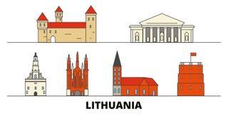 Vlakke de oriëntatiepunten vectorillustratie van Litouwen De lijnstad van Litouwen met beroemde reisgezichten, horizon, ontwerp stock illustratie