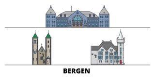 Vlakke de oriëntatiepunten vectorillustratie van Noorwegen, Bergen De lijnstad van Noorwegen, Bergen met beroemde reisgezichten,  vector illustratie