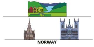 Vlakke de oriëntatiepunten vectorillustratie van Noorwegen De lijnstad van Noorwegen met beroemde reisgezichten, horizon, ontwerp vector illustratie