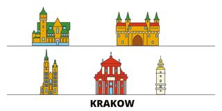 Vlakke de oriëntatiepunten vectorillustratie van Polen, Krakau De lijnstad van Polen, Krakau met beroemde reisgezichten, horizon, royalty-vrije illustratie