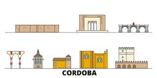 Vlakke de oriëntatiepunten vectorillustratie van Spanje, Cordoba De lijnstad van Spanje, Cordoba met beroemde reisgezichten, hori royalty-vrije illustratie