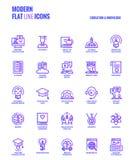 Vlakke de pictogrammen ontwerp-onderwijs en Kennis van de lijngradiënt royalty-vrije illustratie
