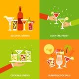 Vlakke de Pictogrammen van alcoholcocktails Royalty-vrije Stock Foto