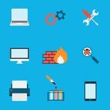 Vlakke de Pictogrammen van de computerdienst Royalty-vrije Stock Afbeelding