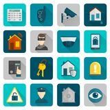 Vlakke de Pictogrammen van de huisveiligheid Stock Foto