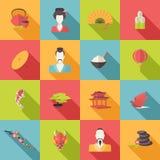 Vlakke de pictogrammen van Japan Stock Fotografie