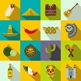Vlakke de pictogrammen van Mexico stock illustratie
