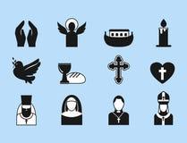 Vlakke de pictogrammen vectorillustratie van de christendomgodsdienst van traditionele heilige godsdienstige zwarte silhouet bidd Stock Afbeeldingen