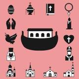 Vlakke de pictogrammen vectorillustratie van de christendomgodsdienst van traditionele heilige godsdienstige zwarte silhouet bidd Royalty-vrije Stock Afbeeldingen