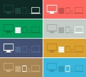 Vlakke de pictogrammeninzamelingen van het ontwerp ui apparaat op gekleurd Royalty-vrije Stock Afbeelding