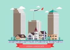 Vlakke de pictogrammenreeks van de ontwerp moderne vectorillustratie van het stedelijke landschap en stadsleven Royalty-vrije Stock Foto's