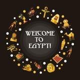 Vlakke de reisprentbriefkaar van ontwerpegypte met beroemde Egyptische symbolenpictogrammen stock illustratie