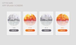 Vlakke de schermenmodellen van de ontwerp ontvankelijke UI mobiele app plons stock illustratie