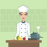 Vlakke de stijlillustratie van het chef-kok kokende voedsel Stock Fotografie