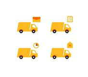 Vlakke de stijlpictogrammen van leveringsvrachtwagens stock illustratie
