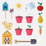 Vlakke de tuin vectorreeks van het stijllandbouwbedrijf Royalty-vrije Stock Afbeeldingen