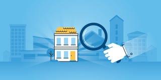 Vlakke de websitebanner van het lijnontwerp van bouw royalty-vrije illustratie
