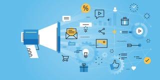Vlakke de websitebanner van het lijnontwerp van digitale marketing royalty-vrije illustratie