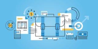 Vlakke de websitebanner van het lijnontwerp van zaken, financiën, boekhouding vector illustratie