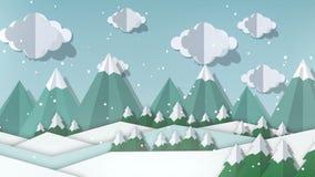Vlakke de winter geanimeerde landschapsachtergrond Document het ontwerplandschap van de besnoeiingskunst met bomen en heuvels het stock illustratie
