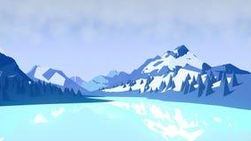 Vlakke de winter geanimeerde landschapsachtergrond met bergen en bomen het 3d teruggeven 4K, Ultrahd-resolutie stock illustratie