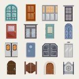 Vlakke deurpictogrammen Stock Afbeeldingen