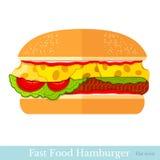 Vlakke die hamburger op wit wordt geïsoleerd Stock Fotografie