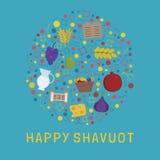 Vlakke die het ontwerppictogrammen van de Shavuotvakantie in ronde vorm met tekst i worden geplaatst vector illustratie