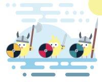 Vlakke die kippenkarakters als de strijders van Vikingen met wapens worden gestileerd royalty-vrije illustratie