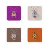 Vlakke die pictogrammen met een insect worden geïsoleerd Vector Royalty-vrije Stock Afbeeldingen
