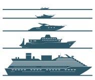 Vlakke die pictogrammen van boten door grootte worden gerangschikt stock illustratie