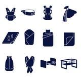 Vlakke die pictogrammen voor het vervoeren van een baby en het slapen worden geplaatst Royalty-vrije Stock Fotografie