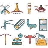 Vlakke die pictogrammen voor verloskunde worden geplaatst Stock Foto