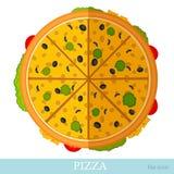 vlakke die pizza met kaas op wit wordt geïsoleerd Royalty-vrije Stock Foto's