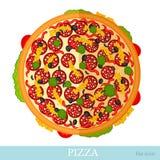 Vlakke die pizza op wit wordt geïsoleerd Royalty-vrije Stock Foto's