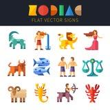 Vlakke dierenriemtekens, astrologie vector illustratie