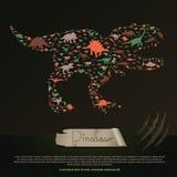 Vlakke dinosaurus en voorhistorische reptiel dierlijke infographic banner Stock Foto's