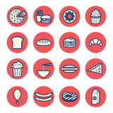 Vlakke dunne de lijnpictogrammen van het voedseldessert geplaatst vector Stock Afbeeldingen