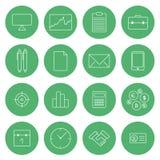 Vlakke dunne het ontwerp vector vastgestelde van bedrijfs lijnpictogrammen moderne pictogrammen Stock Foto's