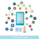 Vlakke e-het winkelen illustratie Stock Afbeelding