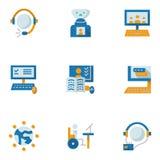 Vlakke eenvoudige pictogrammen voor onderwijs online Stock Afbeelding
