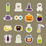 Vlakke Enge Halloween-Stickersinzameling Stock Afbeeldingen