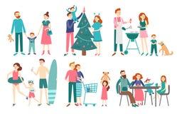 Vlakke familiemensen De vader, de moeder en de jonge geitjes vieren samen Kerstmis of rust op strand Paar met kinderen  stock illustratie