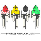 Vlakke fietsers in geel, groen, Stock Afbeelding